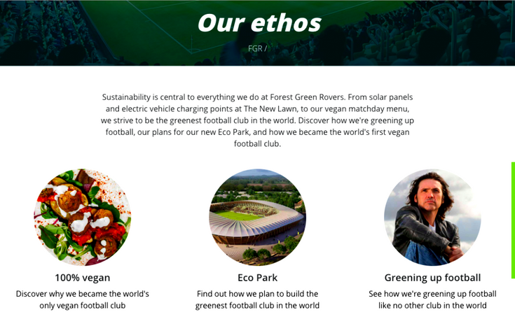 Forest Green Rover soccer team's homepage of website