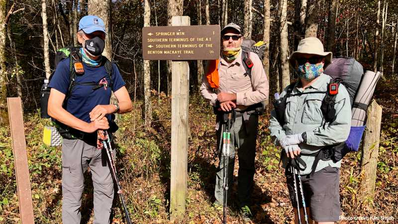 Tengo, JA, and Gravity are prepared to begin their BMT hike