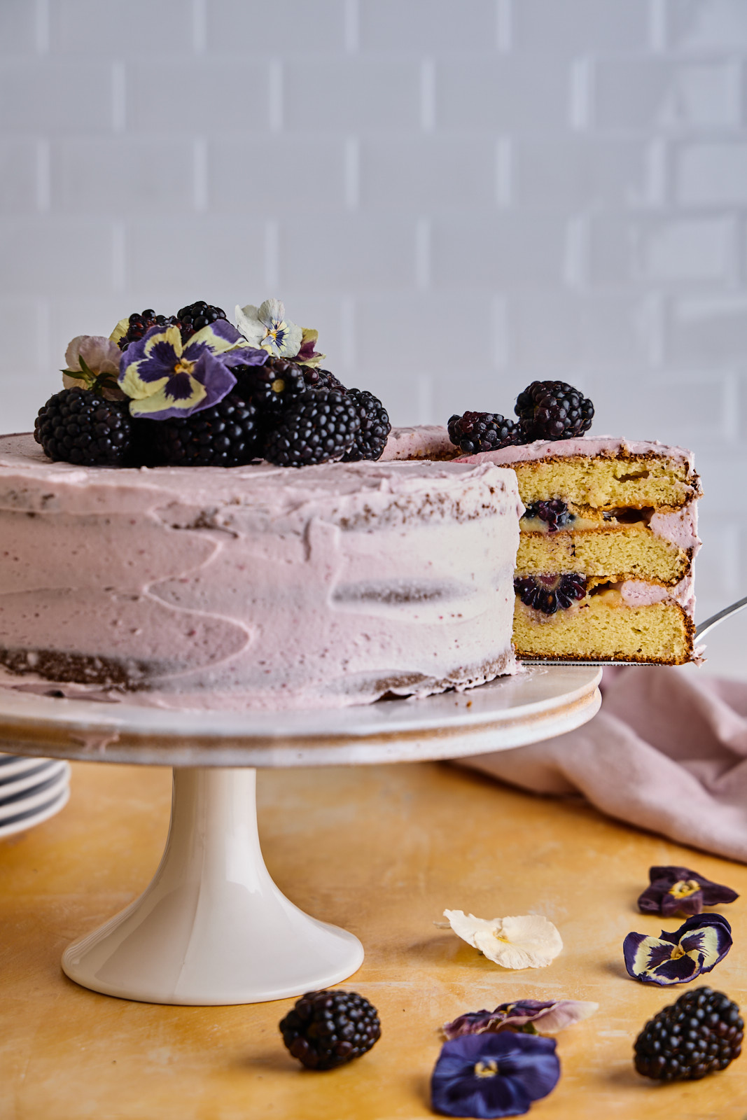 Lemon Blackberry Gluten Free Almond Flour Layer Cake
