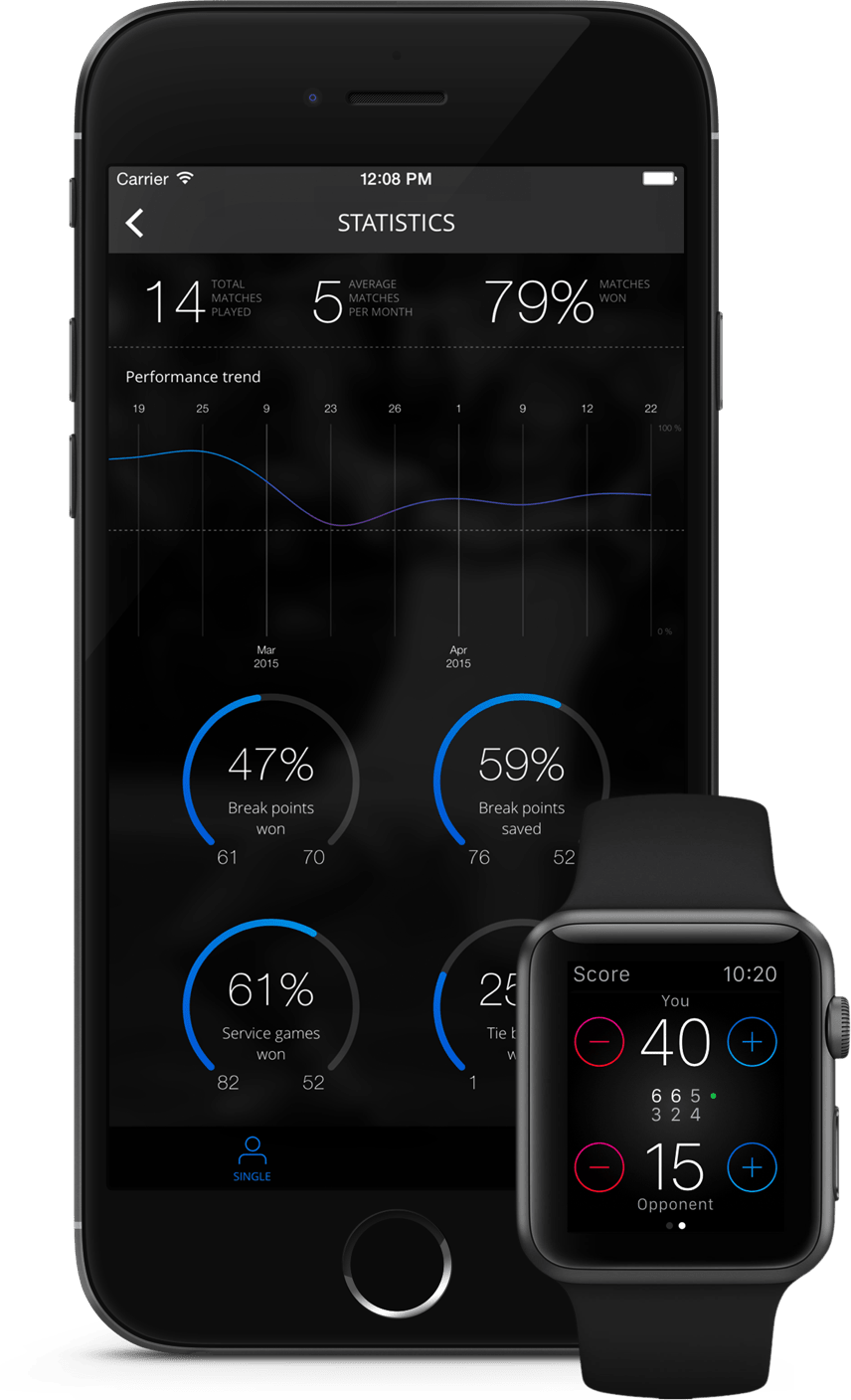 Tennis Watch (phone and watch mockup)