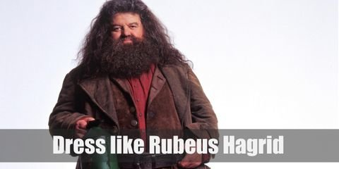 Hagrid often wears a brownish leather jacket on top of the regular shirt and topped with a long leather coat, and leather pants. He also likes to wear boots and big belt.