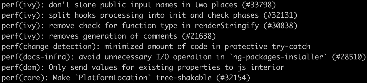 Examples of commit messages with `perf` type