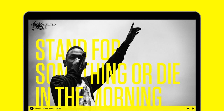 Hip-Hop Quoted Art Directed Web Design - kendrick lamar - hiiipower