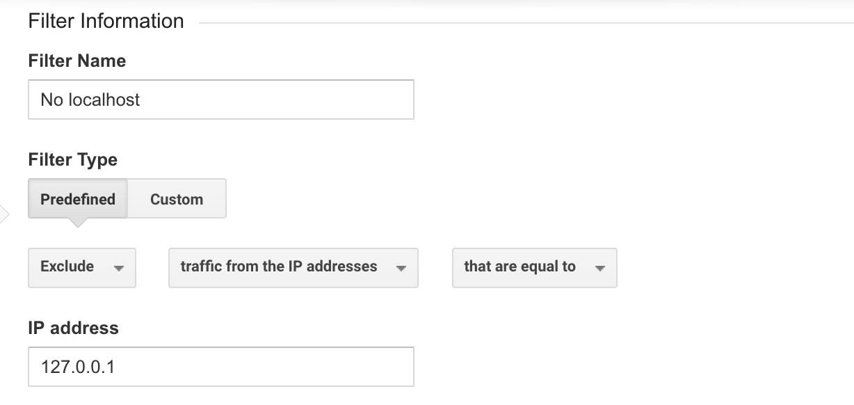 Google Analytics filter to block localhost
