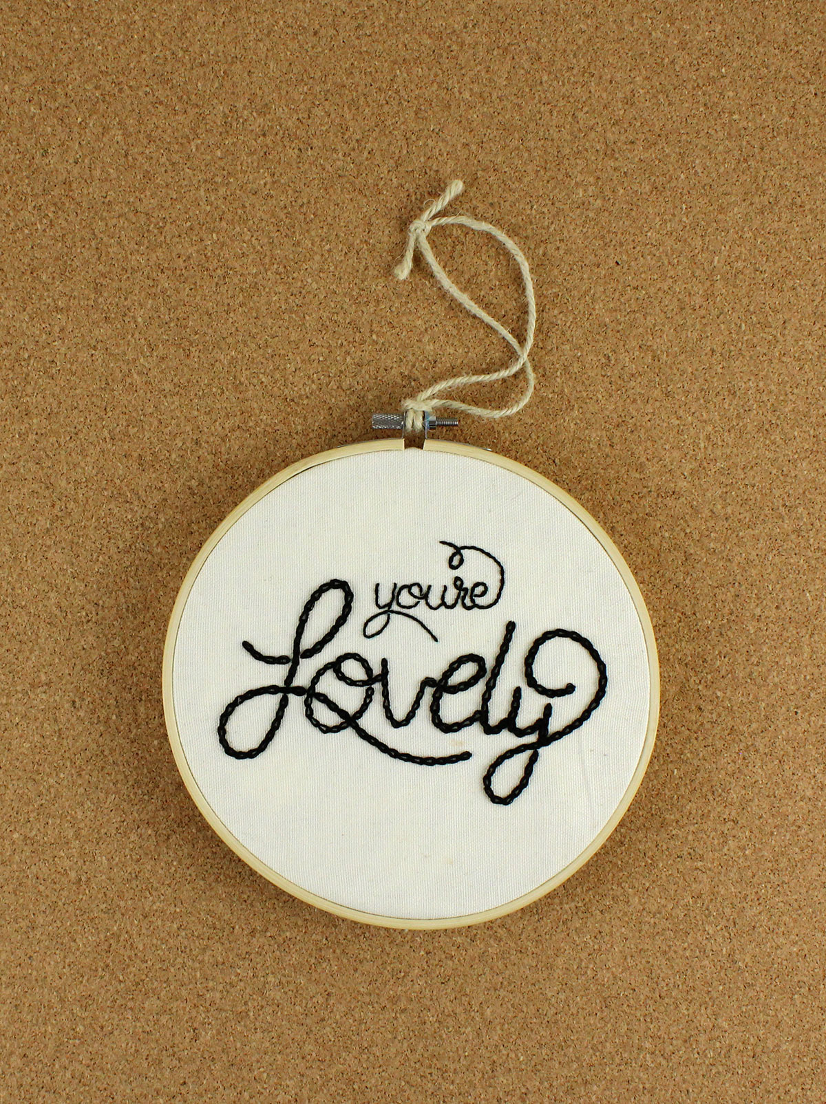 embroidered hand-lettering