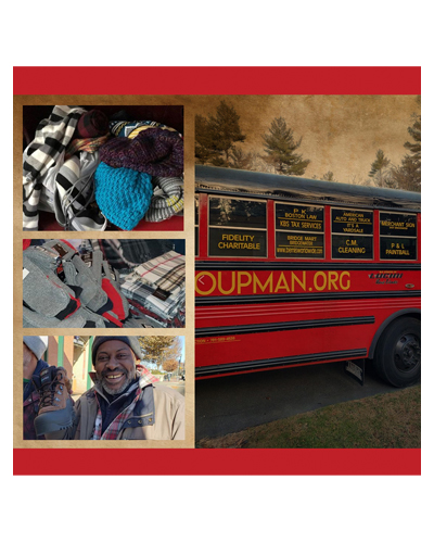 Three stacked images showing coats on the left and a red bus on the right