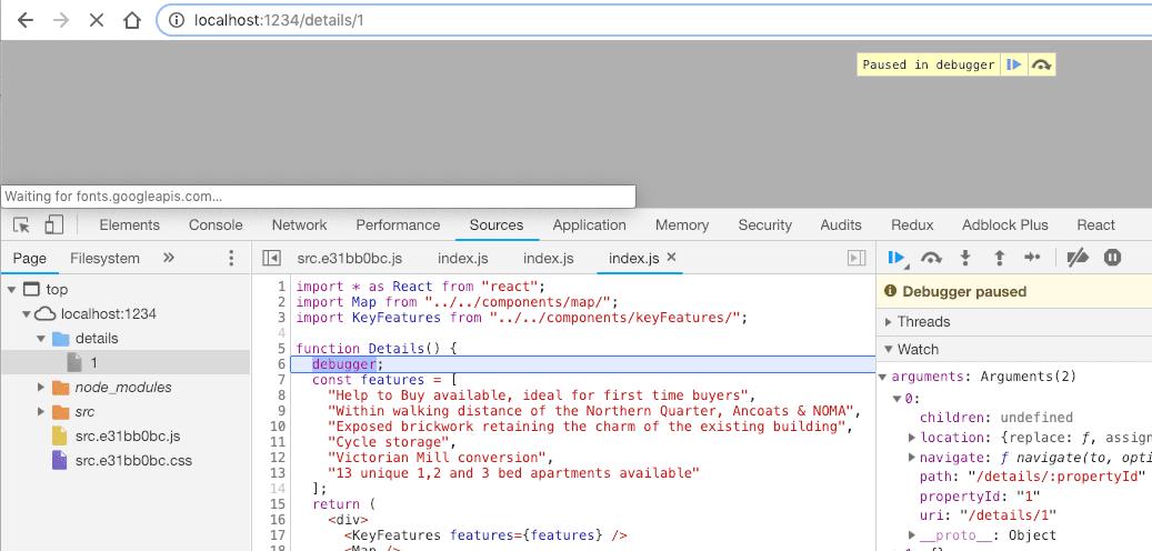 Chrome Debugger @reach/router