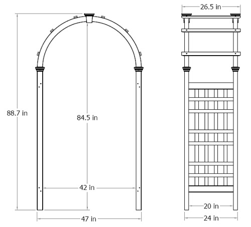 Rosewood Arbor wireframe dimensions