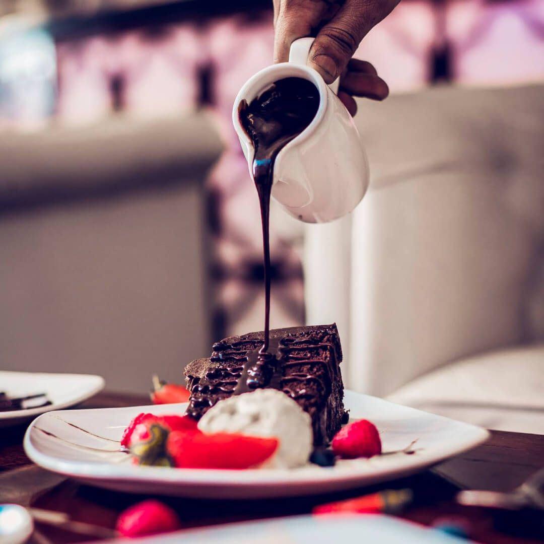 Aagrah Chapel Allerton chocolate cake dessert