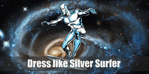 As the herald of Galactus, his form looks like a man but with a clean, smooth silver metal look all over his body. His surfboard looks like this metal material as well.