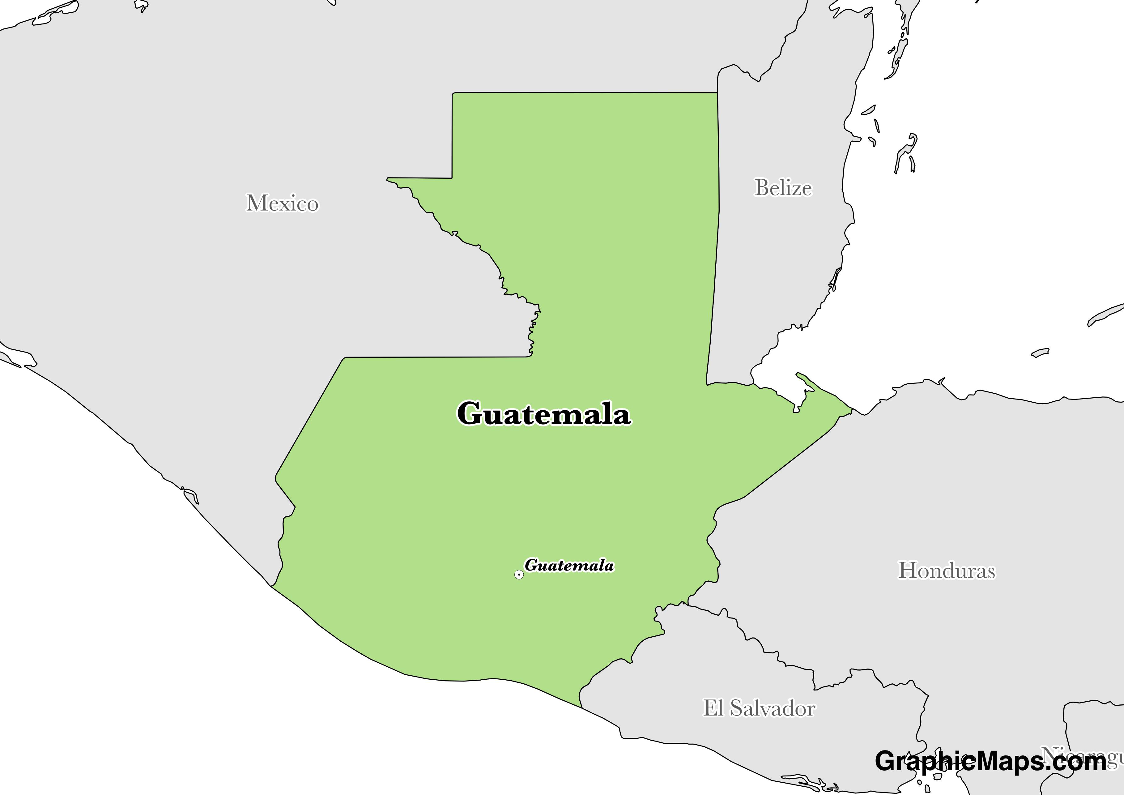 Map showing the location of Guatemala