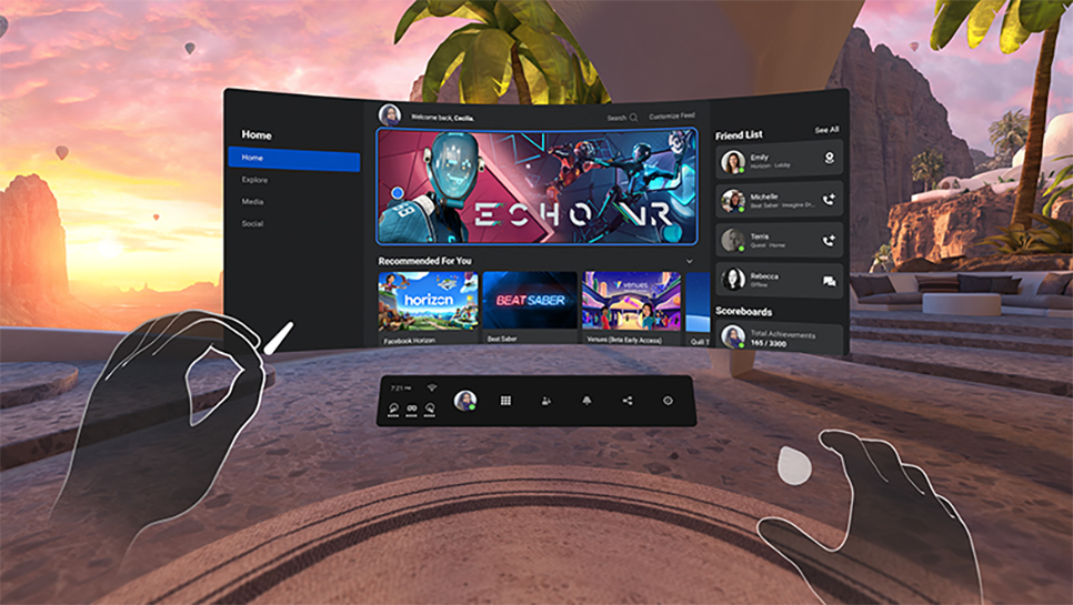 Screenshot of Oculus Home in virtual reality