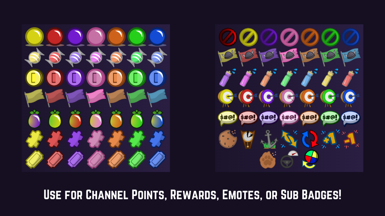 """Preview of over 100 designs. Caption reads, """"Use for Channel Points, Rewards, Emotes, or Sub Badges!"""""""