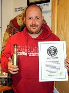 Andrew Leapers World record message in a bottle