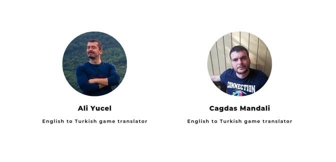 Picture of two men - English to Turkish game translators