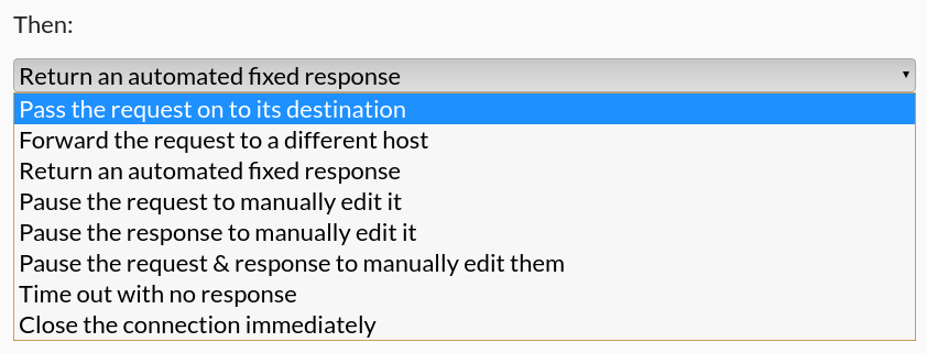 The Mock action selection dropdown