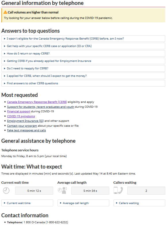 General information by telephone page showing answers to most frequent call drivers at the top of the page (in expand/collapse pattern to minimize screen real estate) and wait times along with the contact phone number at the bottom of the page