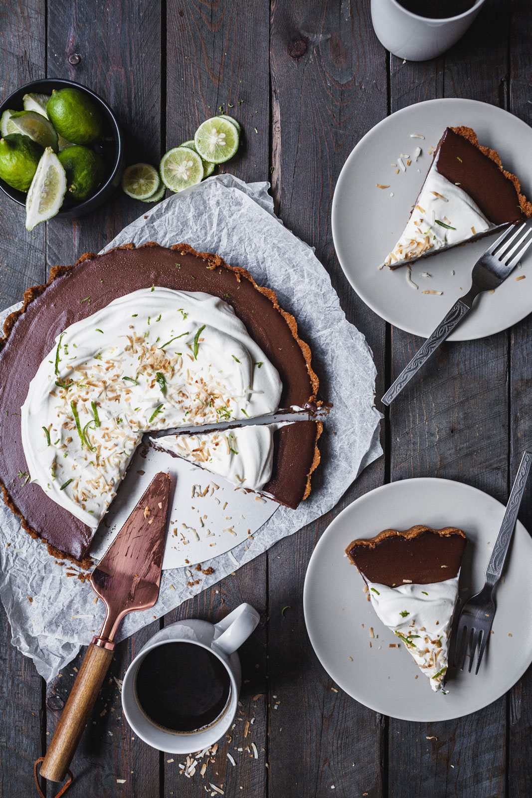 Chocolate Lime Tart With A Ginger Snap Crust