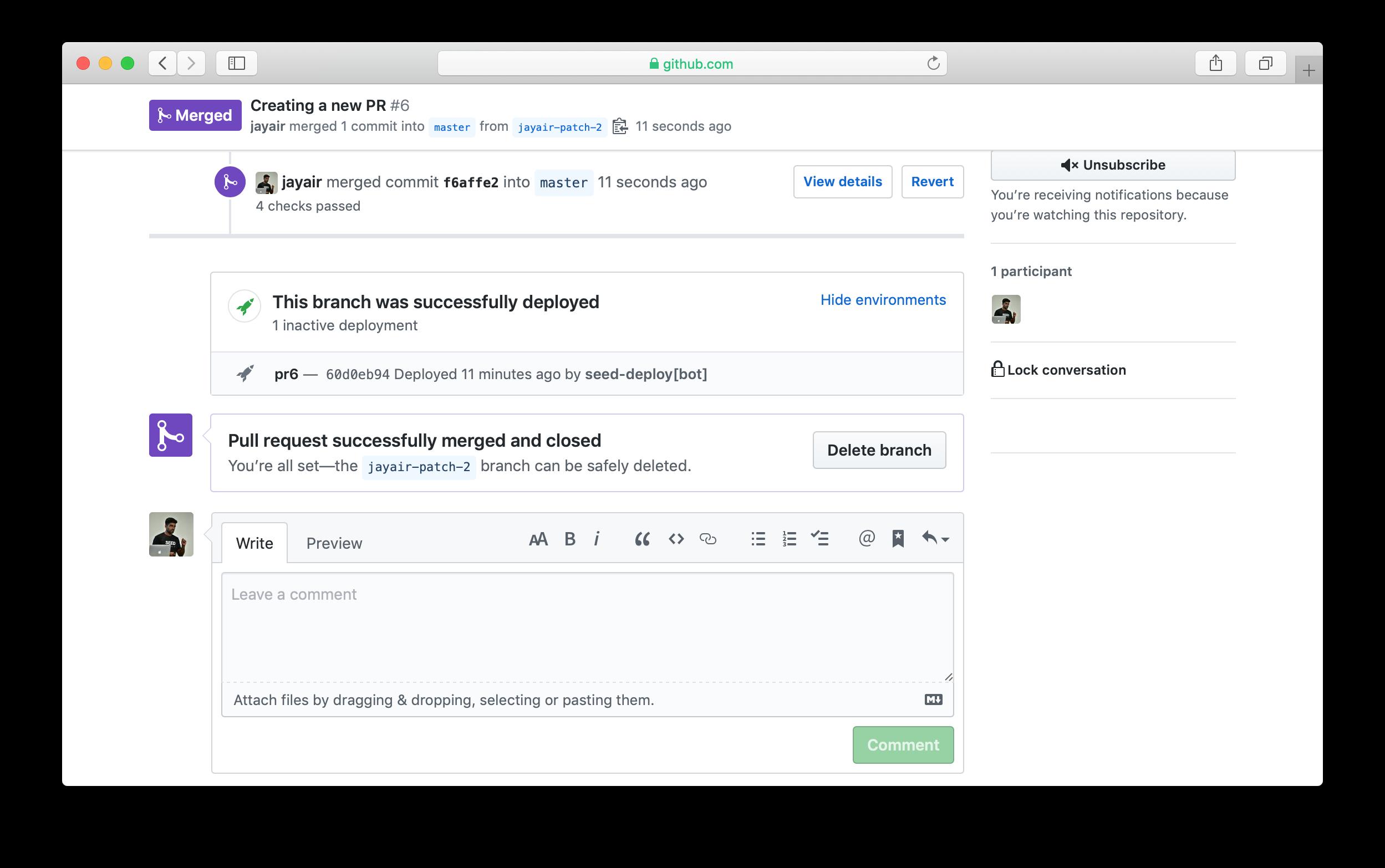 GitHub delete PR branch