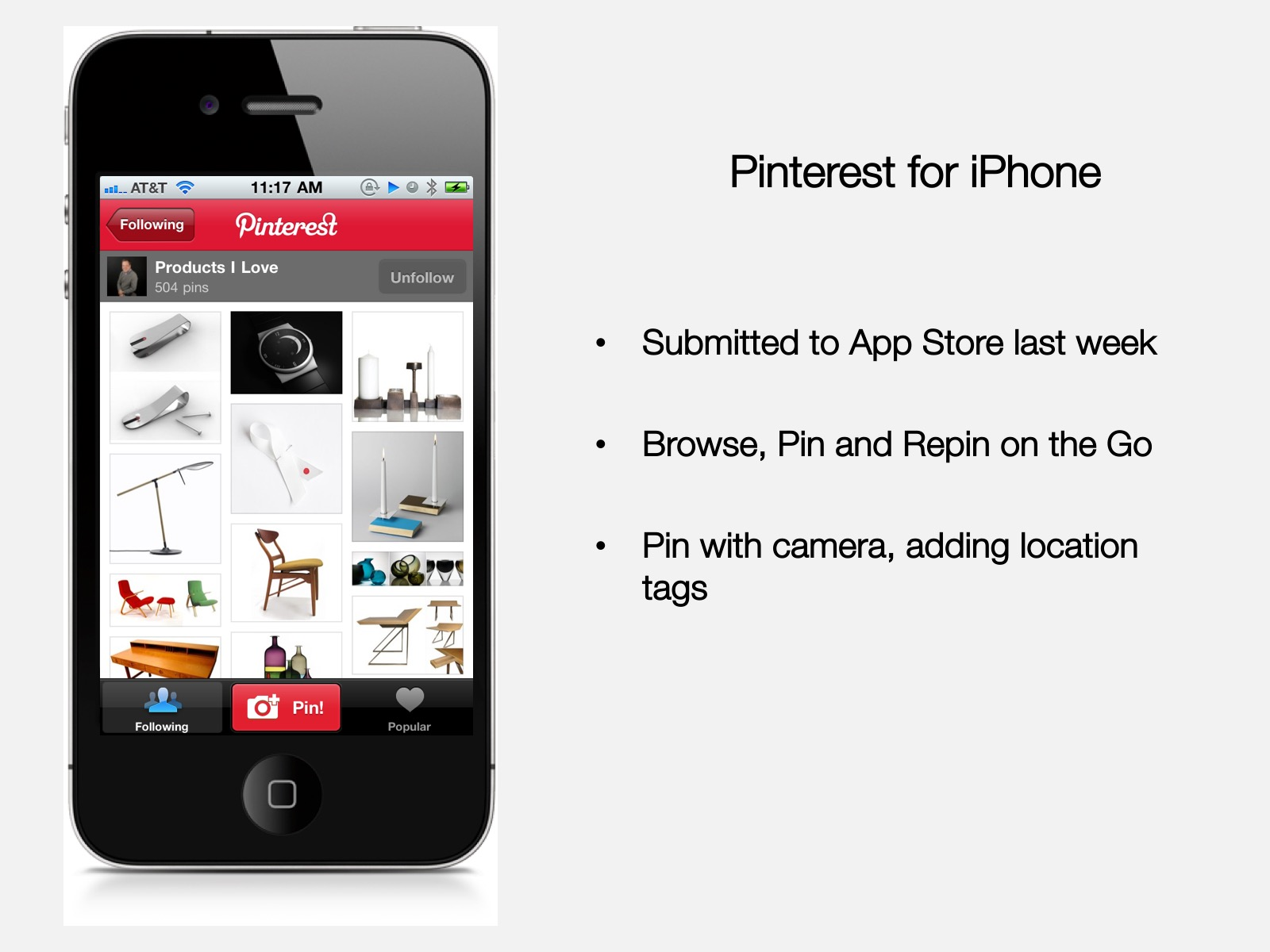 Mobile app slide from Pinterest pitch deck
