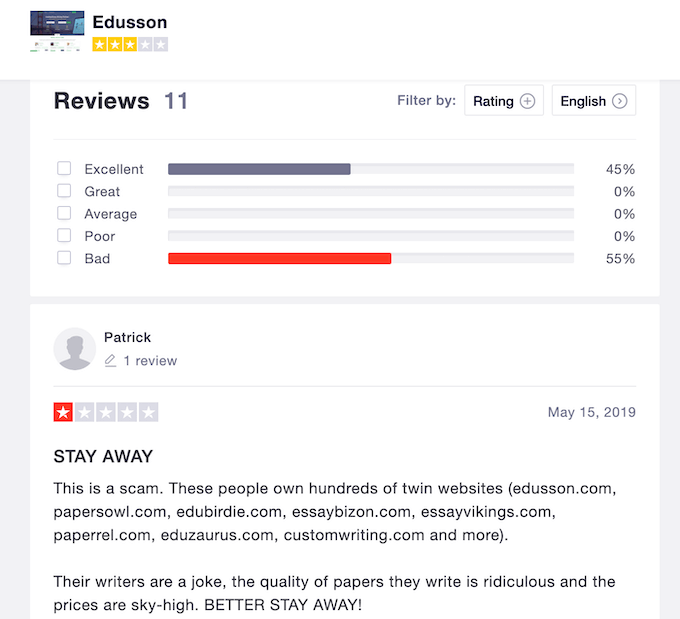 half of edusson reviews on trustpilot are bad