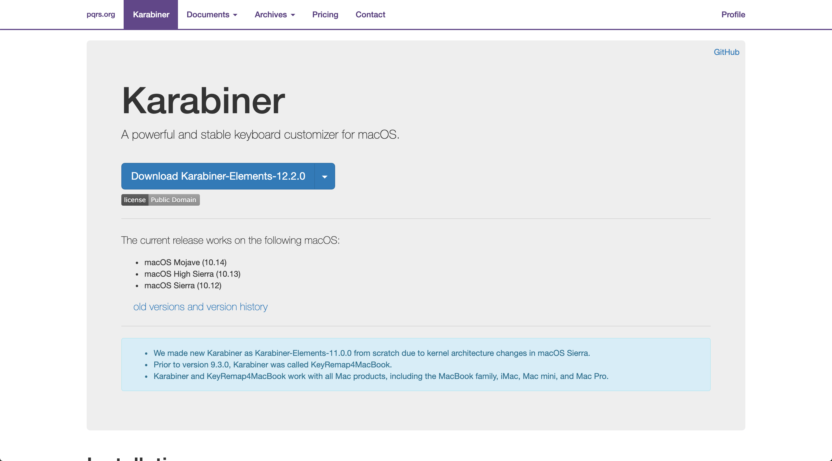 karabiner website screenshot