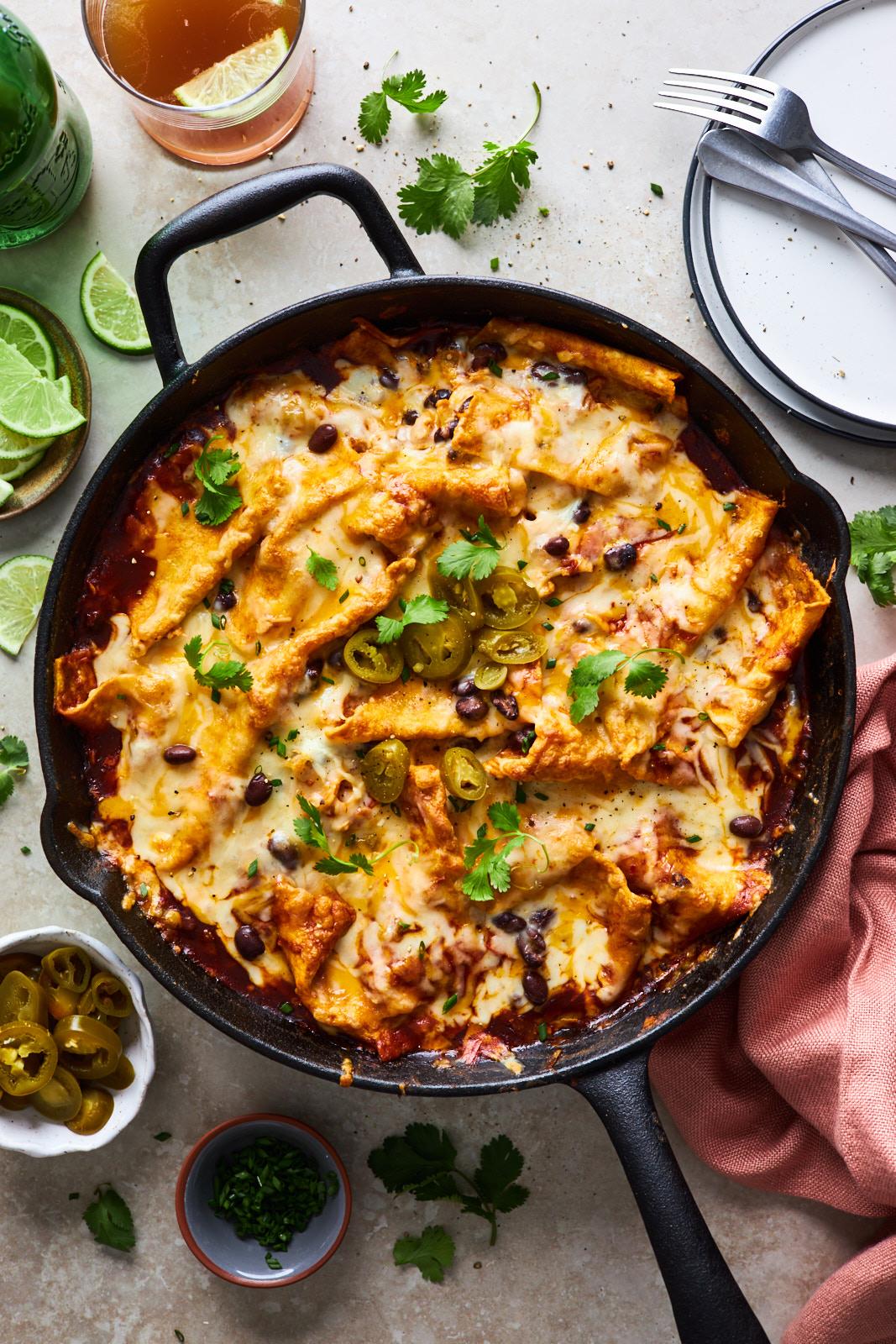Easy One Pan Cheesy Enchiladas