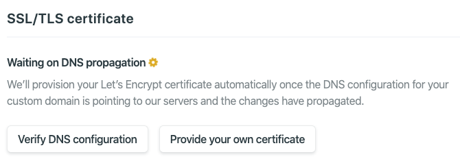 Certificate Settings if DNS Propagation Did Not Finish Yet