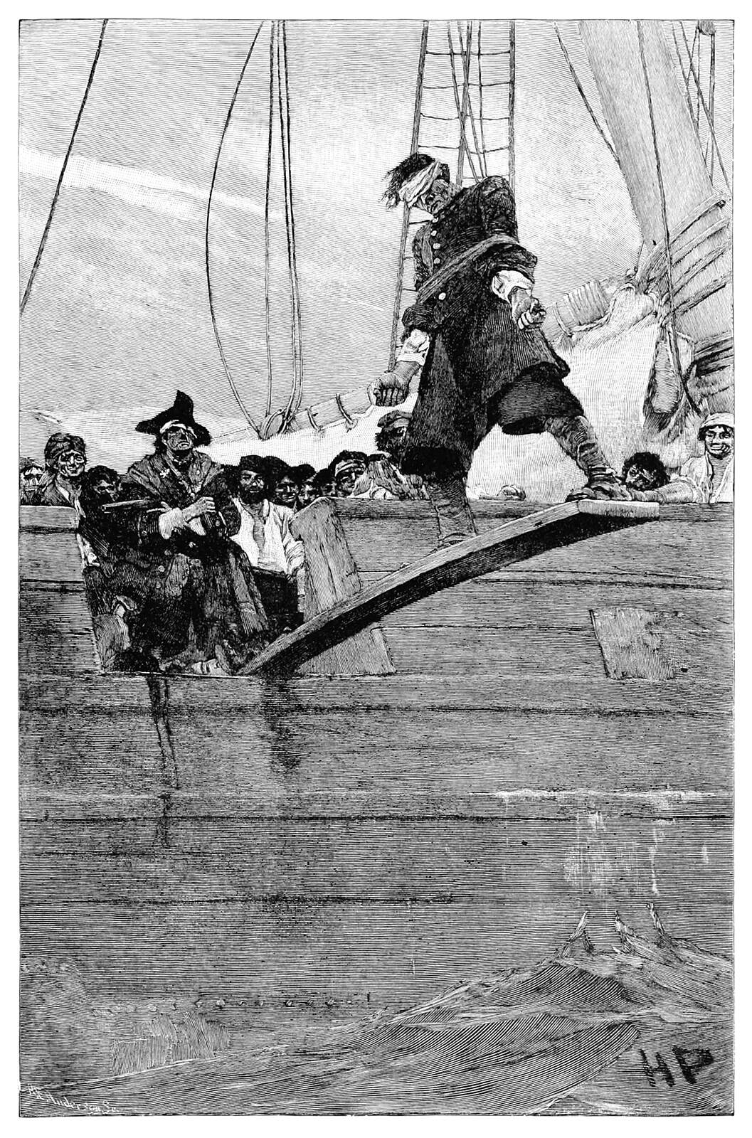 A man is pushed off a gangplank