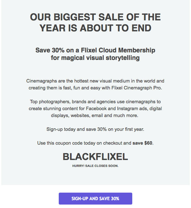 Flixel's last Black Friday email