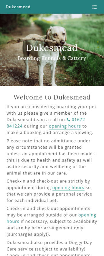 Dukesmead Boarding Kennels & Cattery website frontpage on a mobile