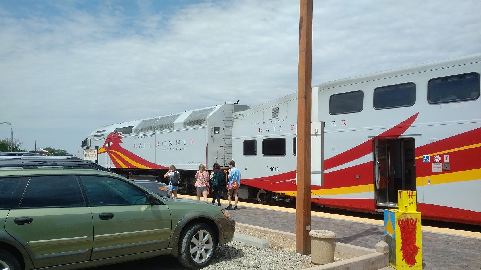 Santa Fe, NM RailRunneR train at station.
