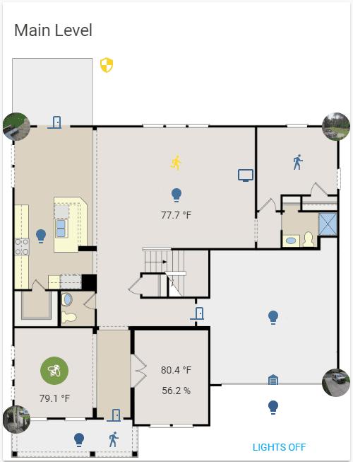Screenshot of a floorplan with sensor info and light/camera controls overlayed.