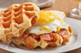 waffles with egg and bacon
