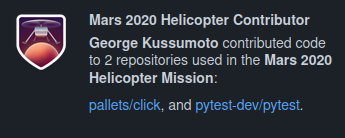 Mars 2020 Helicopter Contributor badge