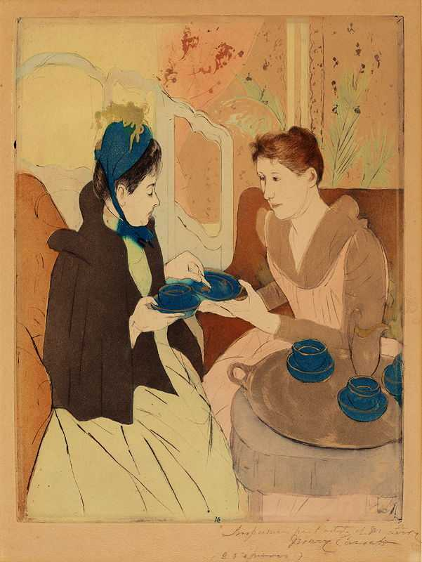 'Afternoon Tea Party', printed by Mary Cassatt in 1890-1891