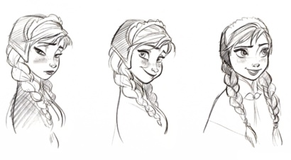 Anna character sketches, Frozen, Jin Kim