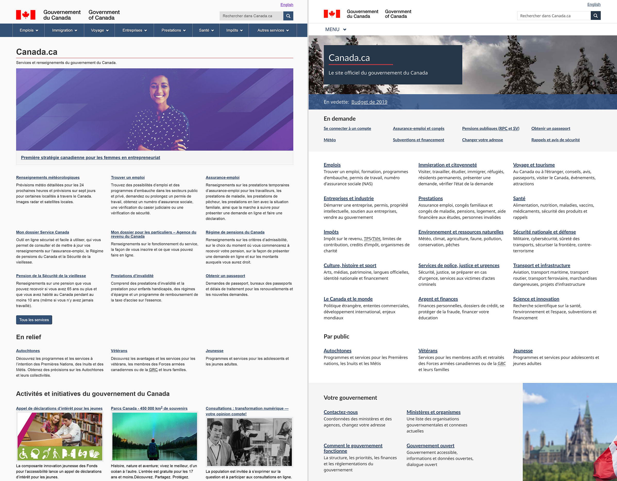 Image avant et après de la page d'accueil de Canada.ca