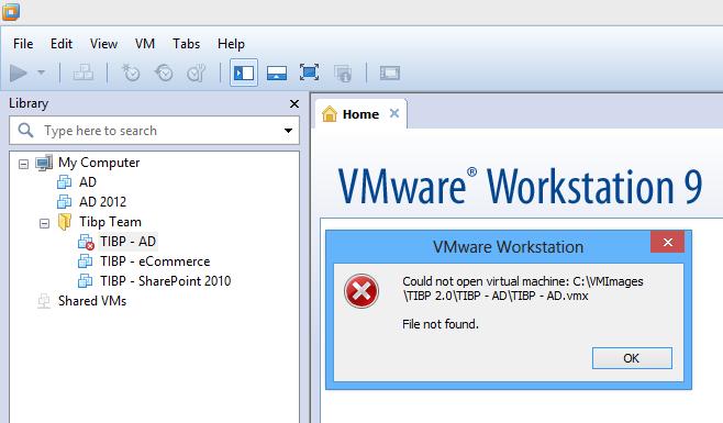 VMware Workstation 9 File not found