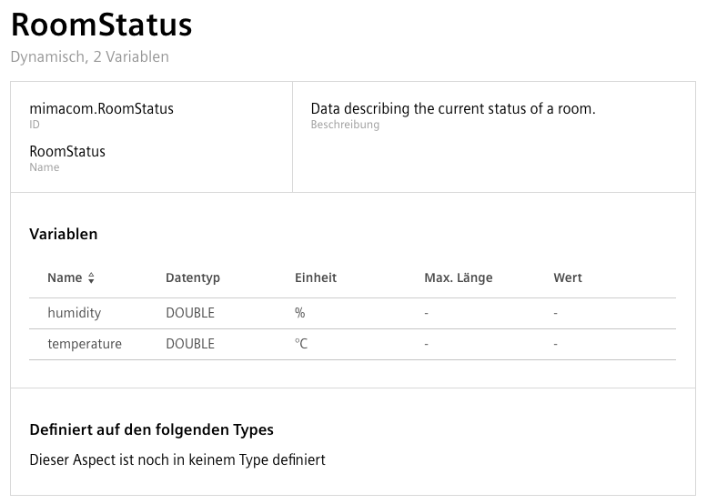 Configuration of the Dynamic RoomStatus Aspect