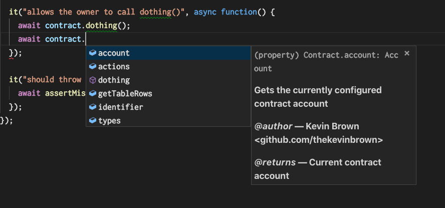 VSCode autocomplete for smart contract actions