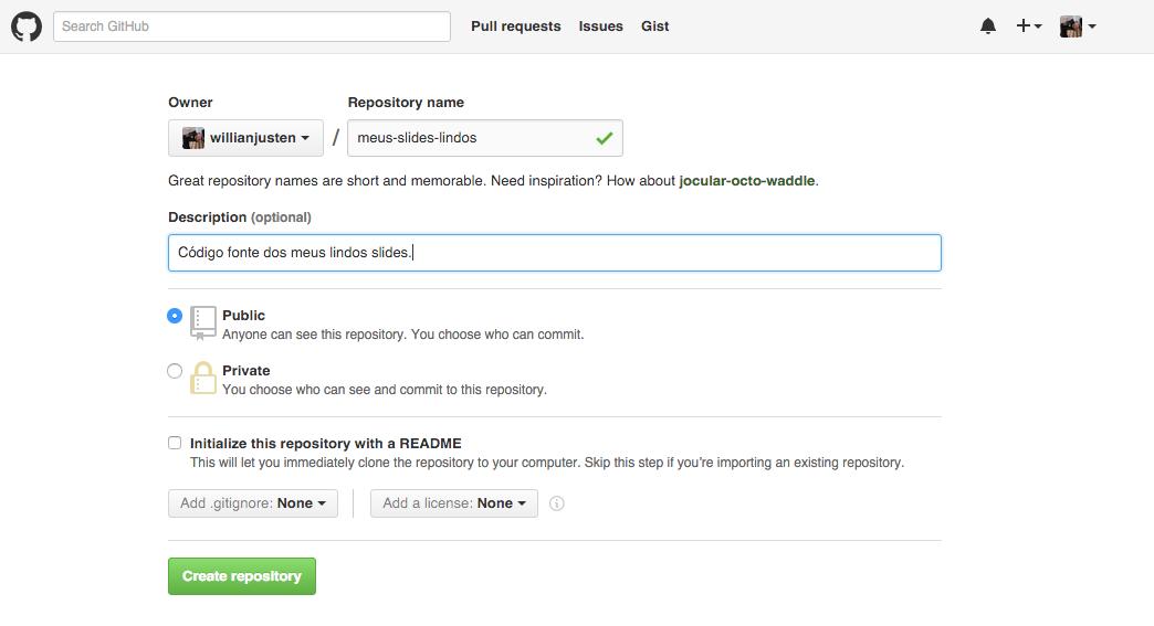 Imagem de criação de um novo repositório no Github