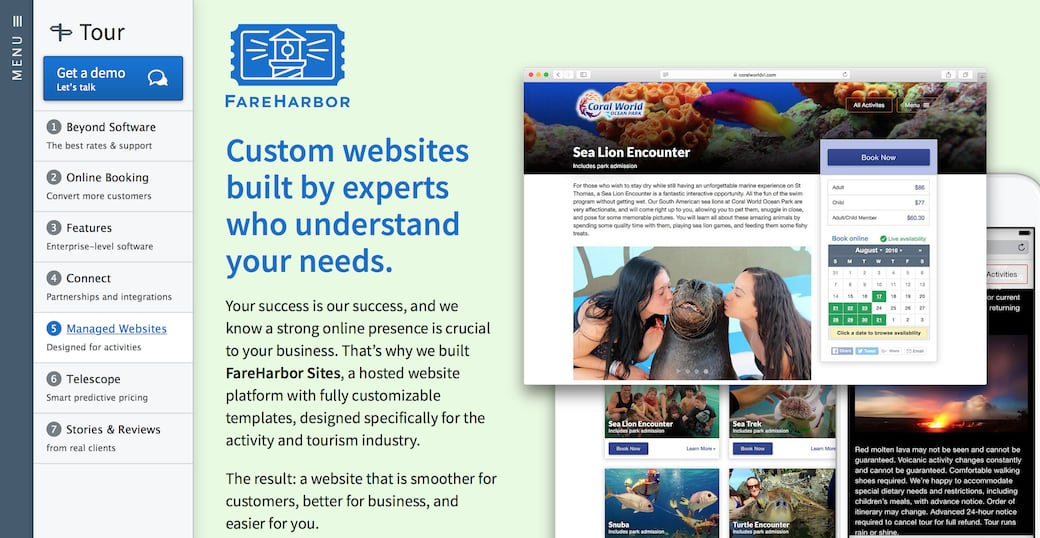Screenshot showing a page on the FareHarbor website advertising the aforementioned FareHarbor Sites.