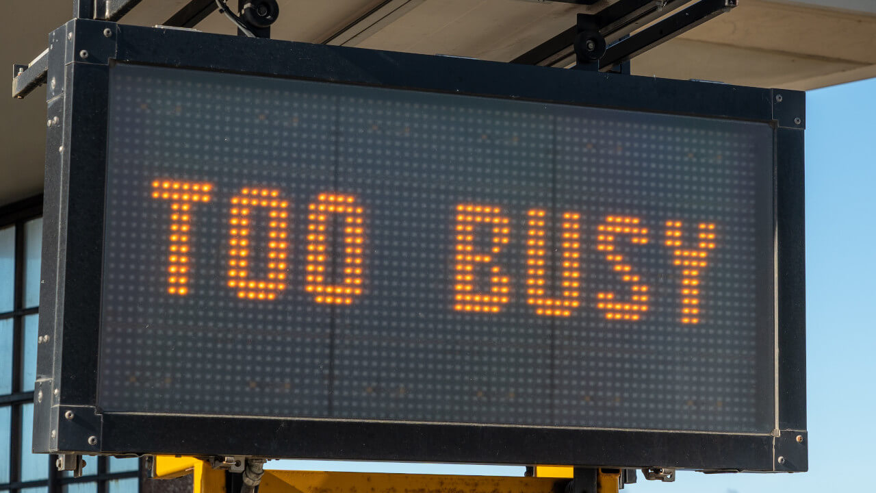 too busy sign
