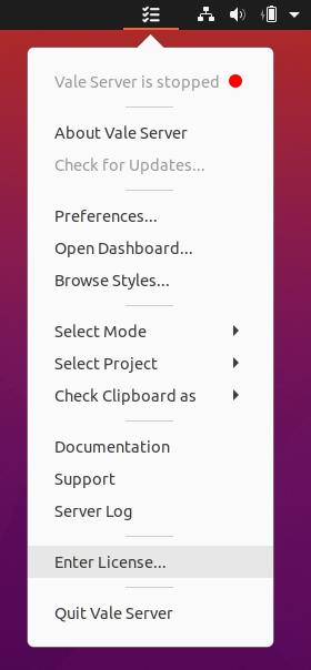 A screenshot of Vale Server's 'Enter License' option.