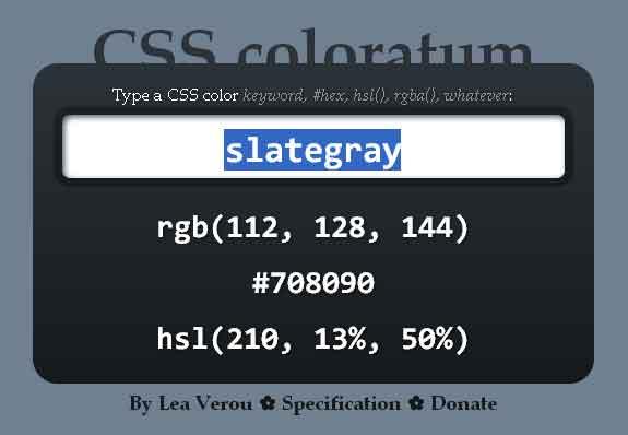 Screenshot of CSS Coloratum