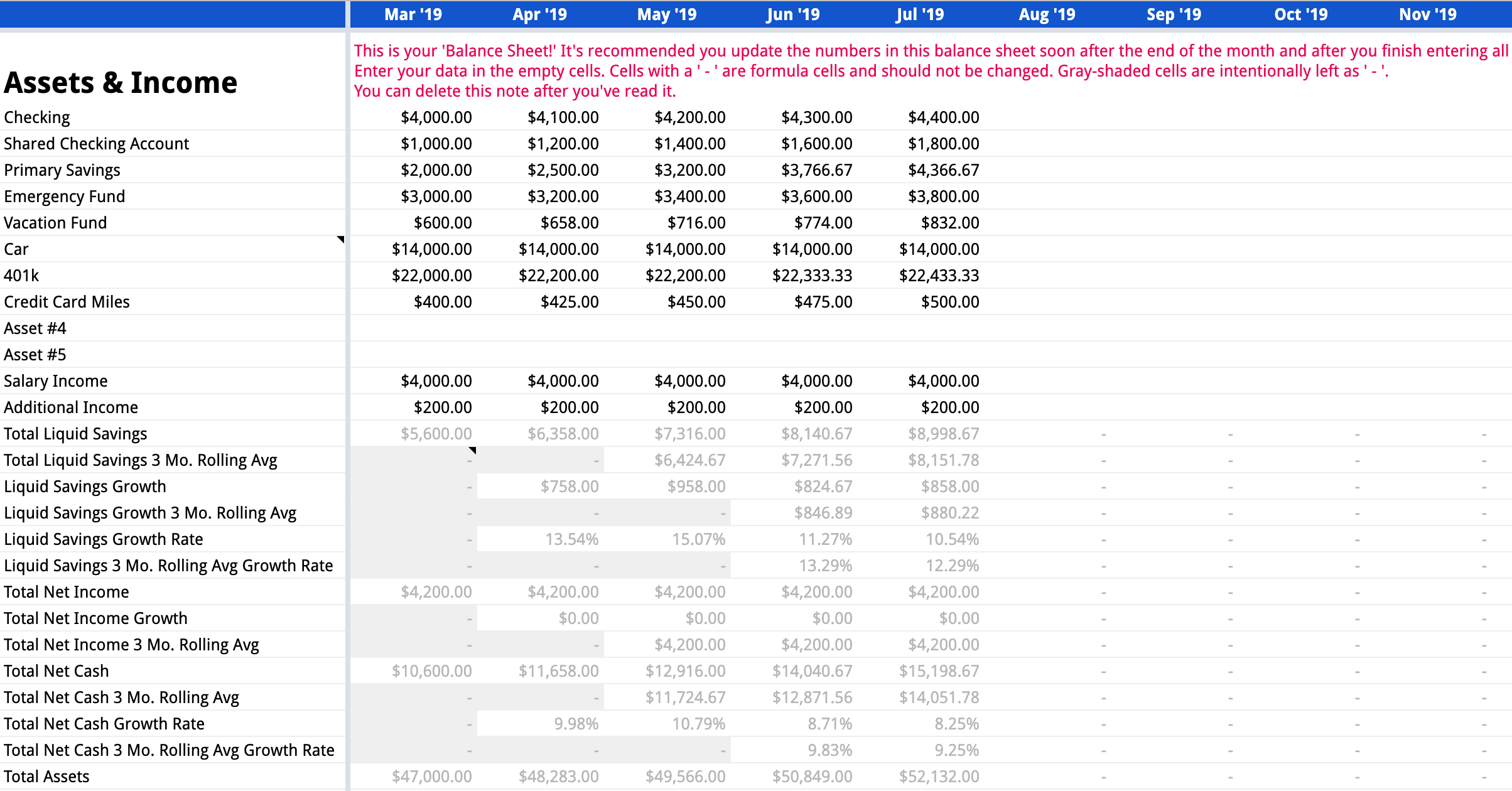 Example of the Assets & Income section with sample data on the Balance Sheet tab