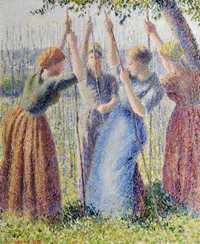 Pissarro's 1891 work Peasant Women Planting Poles (Paysannes plantant des rames).