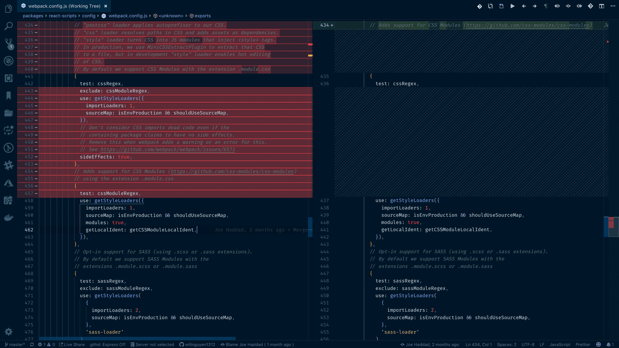 Webpack css module configuration screenshot