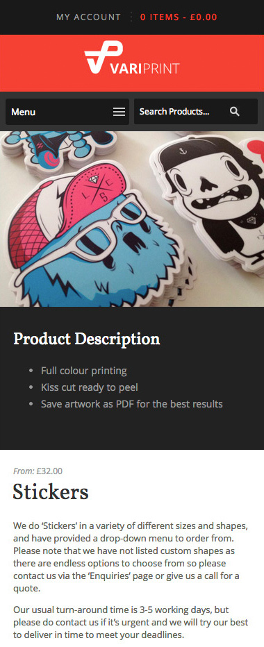 VariPrint single product page mobile view
